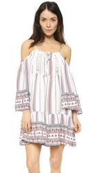 Glamorous Cold Shoulder Dress White Tribal Border