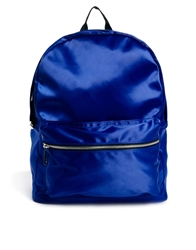 Asos Backpack In Satin Fabric Blue