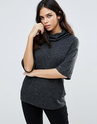 B.Young Kimono Sleeve Roll Neck Top Antracit Grey Melang