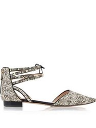 Lucy Choi London Glinda Glitter Ankle Strap Flats Gold