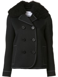 Paco Rabanne Double Breasted Peacoat Black