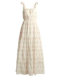 Athena Procopiou Summer Morning Tiered Cotton And Silk Blend Dress White Multi