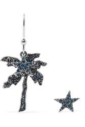 Marc Jacobs Palm Tree Silver Tone Crystal Earrings Blue