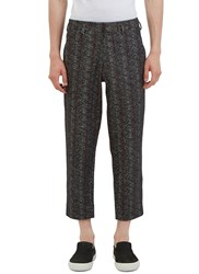 Aganovich Patterned Wide Leg Cropped Pants Black
