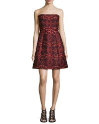 Alice Olivia Nikki Strapless Tribal Print Dress Red Orange