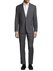 Vince Camuto Slim Fit Plaid Wool Suit Medium Grey