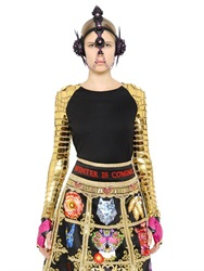 Manish Arora Faux Leather And Wool Jersey Top