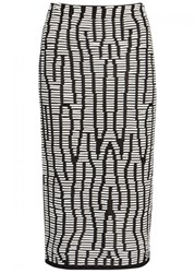 Proenza Schouler Black Leather Trimmed Knitted Skirt Black And White