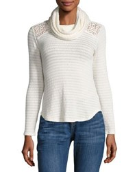 Madison And Berkeley Lace Inset Cowl Neck Top White