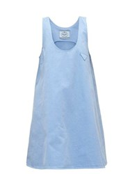 Prada A Line Denim Mini Dress Light Blue