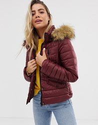 Urban Bliss Pixie Padded Jacket With Faux Fur Collar Red