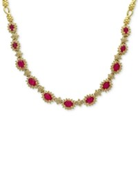 Effy Amore By Certified Ruby 5 1 4 Ct. T.W. And Diamond 2 Ct. T.W. Fancy Collar Necklace Yellow Gold