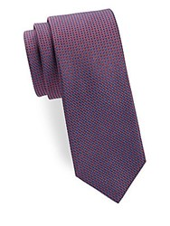 Saks Fifth Avenue Two Tone Diamond Silk Tie Red