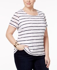 Charter Club Plus Size Striped Lace Top Only At Macy's Intrepid Blue Combo