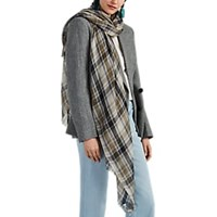 Denis Colomb Targa Plaid Cashmere Gauze Scarf Brown