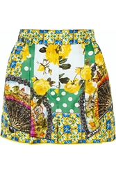 Dolce And Gabbana Printed Silk Satin Shorts