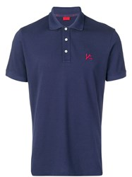 Isaia Chest Logo Polo Shirt Blue