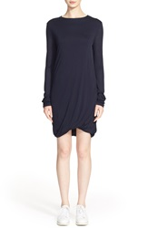 Acne Studios 'Emilia Tencel' Long Sleeve T Shirt Dress Dark Navy