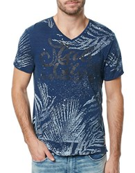 Buffalo David Bitton V Neck Graphic Tee Heather Indigo
