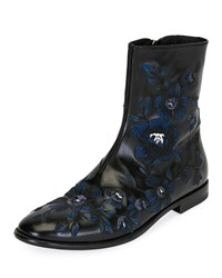 Alexander Mcqueen Embroidered Leather Half Boot Black
