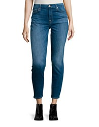 7 For All Mankind Faded Ankle Skinny Jeans Blue