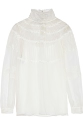 Alberta Ferretti Chantilly Lace Paneled Silk Organza Blouse