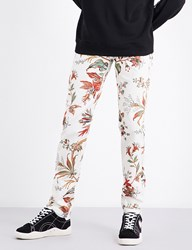 Mcq By Alexander Mcqueen Floral Print Mid Rise Stretch Cotton Trousers Parchment