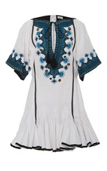 Talitha Button Embellished Alai Dress White
