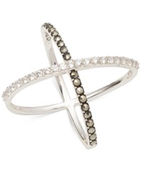 Judith Jack Sterling Silver Crystal And Marcasite Crisscross Ring