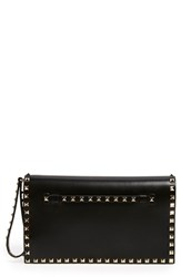 Valentino 'Rockstud' Leather Flap Clutch Black
