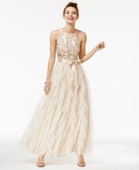 Teeze Me Juniors' Embroidered Ruffled Gown Ivory