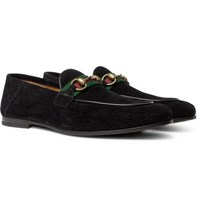 Gucci Brixton Horsebit Webbing Trimmed Collapsible Heel Suede Loafers Black