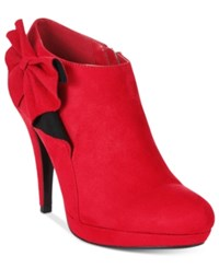 Impo Portia Bow Booties Women's Shoes Scarlet Red