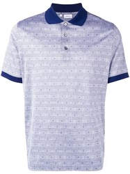 Brioni Houndstooth Polo Shirt Blue