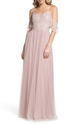 Hayley Paige Occasions 'S Cold Shoulder Lace Gown Dusty Rose