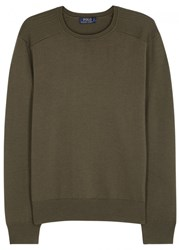 Polo Ralph Lauren Olive Ribbed Wool Jumper