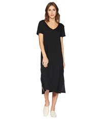 Allen Allen Short Sleeve V Neck Long Dress Black