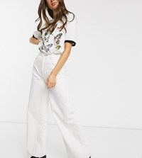 Reclaimed Vintage Inspired Wide Leg Jean With Stitch Detail White