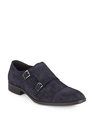 Saks Fifth Avenue Suede Monk Strap Loafers Navy