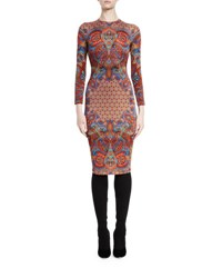 Givenchy Long Sleeve Printed Sheath Dress Red Multi Multi Colored