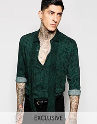 Reclaimed Vintage Shirt With Neck Scarf Blackgreen