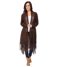 Ariat Fringe Cardigan Brown Ivory Women's Sweater