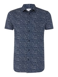 Linea Men's Garratt Geo Printed Shirt Blue