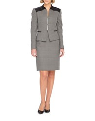Tahari By Arthur S. Levine Plus Two Piece Skirt Suit Black
