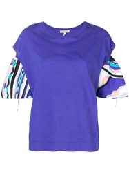 Emilio Pucci Burle Print Cut Out Top Blue