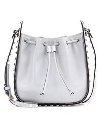 Valentino Rockstud Leather Crossbody Bag Grey
