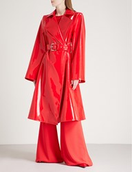 Gareth Pugh Belted Pvc Trench Coat Red