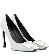Roger Vivier Decollete Belle Trompette Patent Leather Pumps Grey