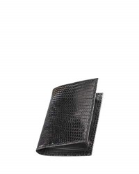 Neiman Marcus Lizard Business Card Case Black
