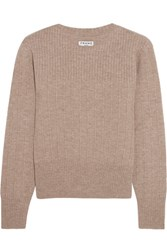 Frame Accordian Ribbed Wool And Cashmere Blend Sweater Taupe